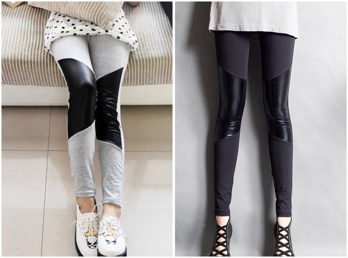 Free Shipping / Women's shiny leggings / Tights Stockings / black and grey / Split joint / Wholesale