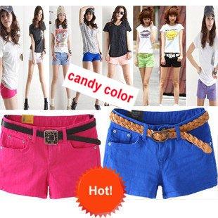 Free Shipping - Women's summer cotton shorts, short pants, lady's shorts, candy color shorts (15 colors, MOQ: 5pcs)