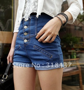 FREE SHIPPING Women's Summer High Waist Denim Shorts, 2012