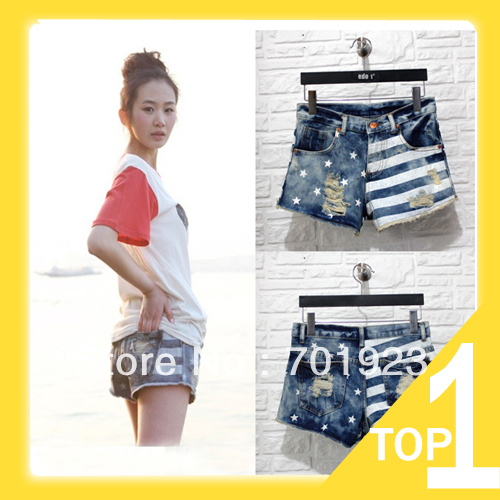 Free Shipping Women Shorts Jeans Pants Fashion Stars Stripe  Flag Wornout Hole  Wash Denim Shorts Classic Y7080