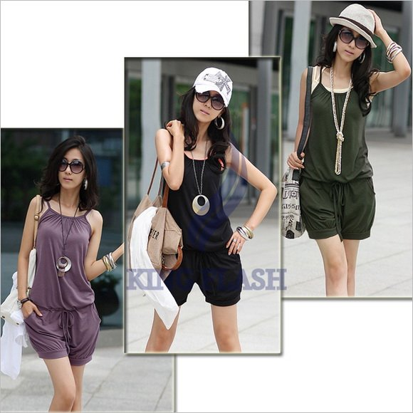 free shipping Women Sleeveless Romper Short Jumpsuit overall Scoop Fashion