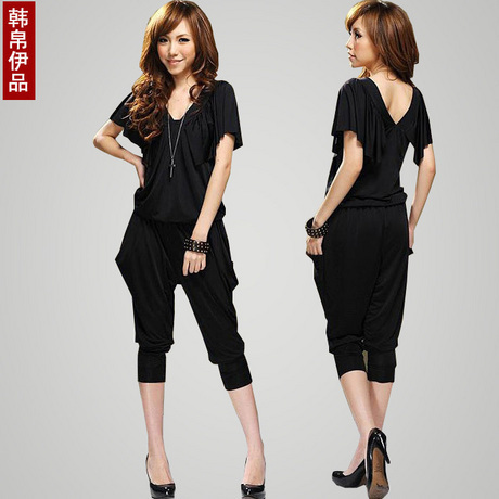 Free Shipping! Women Summer Loose Plus Size clothing Jumpsuit Harem Pants Shank Length Trousers P0586#