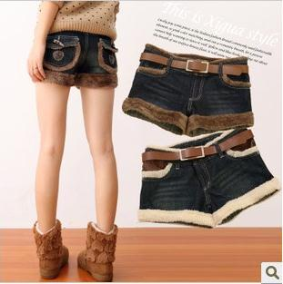 Free shipping Women the new quality lamb Burr denim shorts loose boots, pants female tide