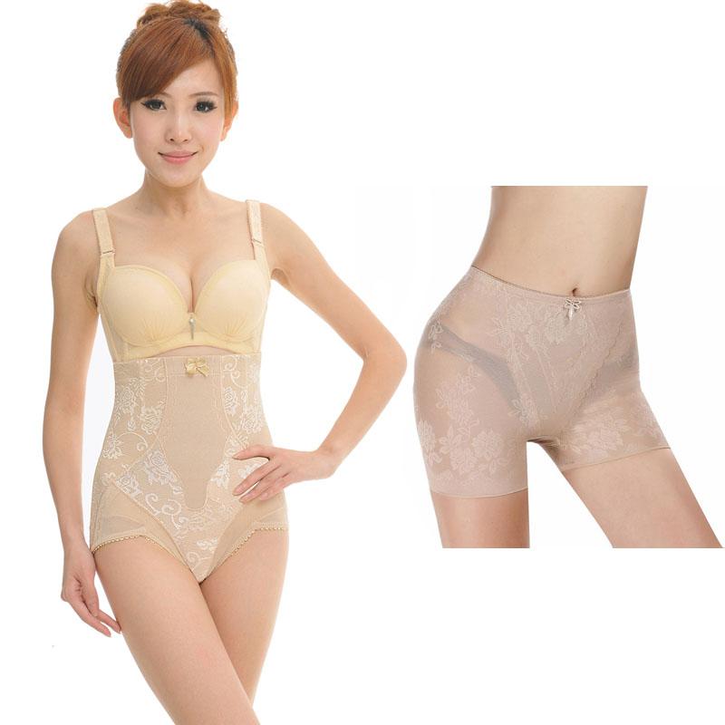 Free shipping women thin high waist abdomen drawing pants body shaping pants  thin breathable comfortable pants roll-up hem