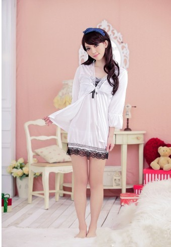 Free shipping  women white sexy sleepwear/ nightclothes for one size