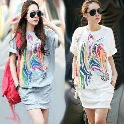 Free shipping Womens Loose Colorful Zebra Round Neck Short Sleeve Shirt Dress Skirt M042