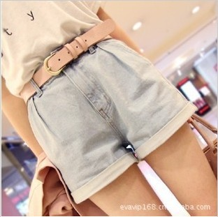Free shipping womens summer fashion short jeans pants casual slim shorts(with belt)
