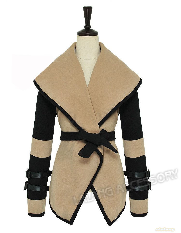 Free Shipping Womens Winter Khaki Turn-down Collar Large Lapel Belted Jacket Coat  Fashion Patchwork Design Trench Coat  650445