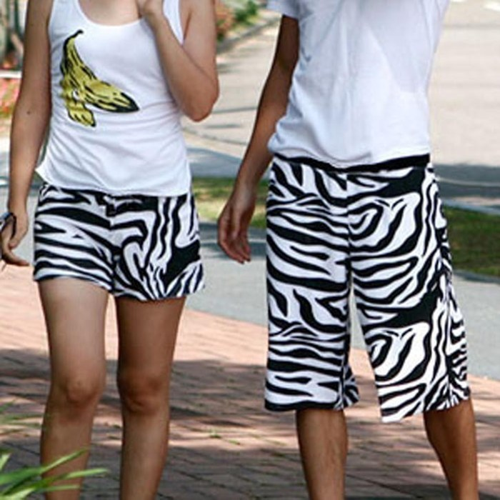 Free shipping, Zebra print lovers beach pants knee-length pants capris shorts,men's pants+women's pants