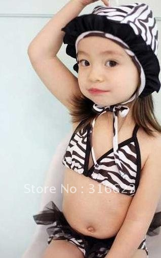 Free Shipping2012Newest Zebra two pieces girl baby swim suit, kids swimwear, children bikini