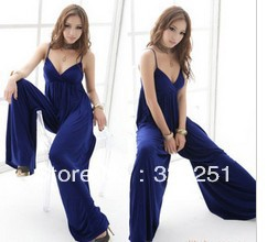 free shipping2013 The sexy piece  thin simple wide leg pants Sling pants jumpsuit a680 of
