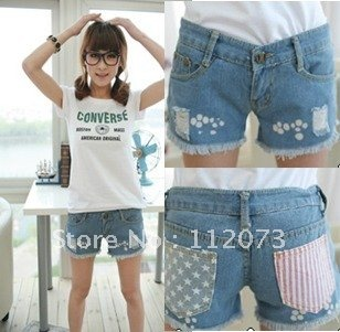 Free shippingNew women's blue denim shorts