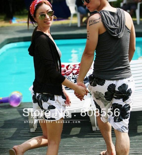 Free Shippingthe two pairs of trousers Price  Black and white flowers of couple beach pants women/men in stock