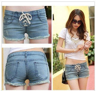 Free Shippping 2012 New Fashion Vintage Frayed Shorts ,Women Jeans Shorts Blue Denim Short Pants