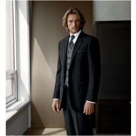 free shirt  bow and shipping New Black  groom attire  with Single-Breasted 2 Buttons mens wedding suit NO.0079
