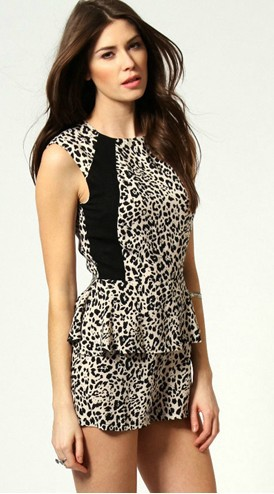 Free  shoping  fashion Leopard flouncing hit color  Jumpsuits  TB 3046