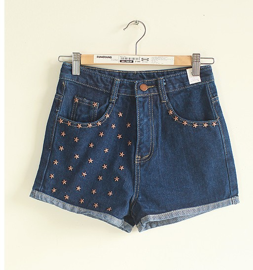 Free  shoping   Fashion women street stars oranges fit denim shorts. TB 3072
