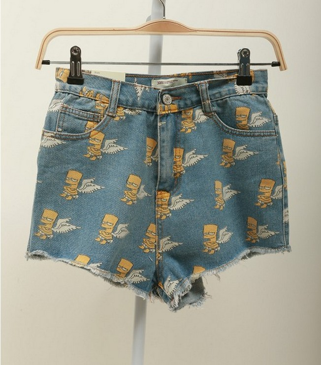 Free  shoping  Simpson pattern fringed denim shorts, fashion woman TB 3089