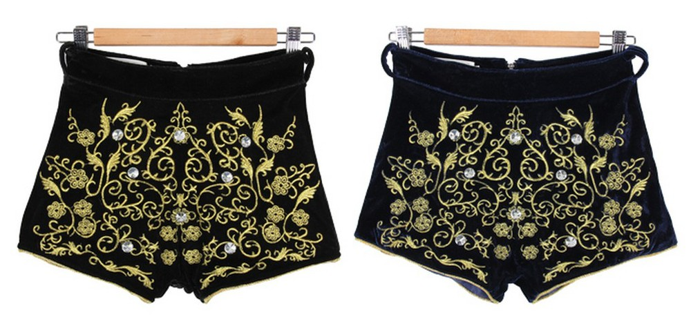 Free shoping  Vintage gold embroidery diamond decoration shorts  TB 2573