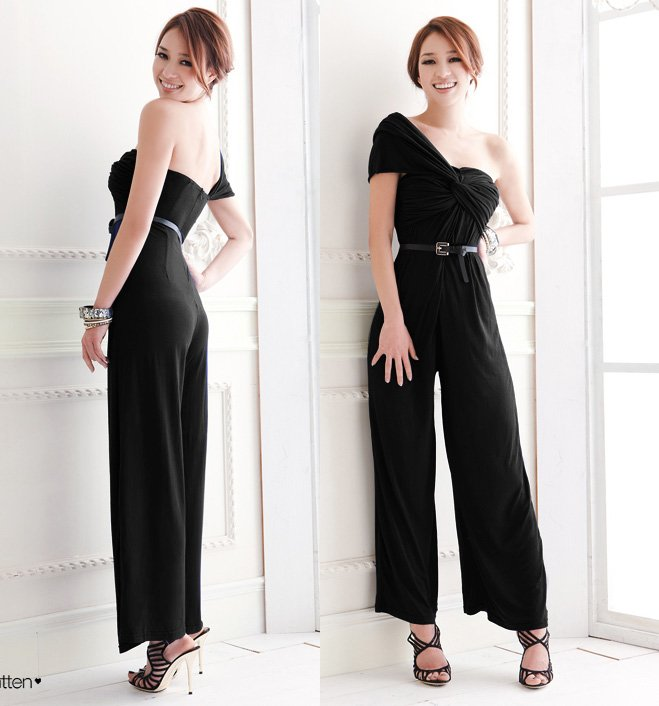 Free shopping 2012 new fashion one shoulder jumpsuit for women cotton romper Y5331-2 black (2colors)