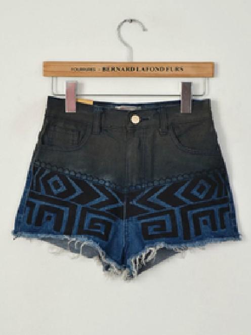 Free Shopping Fashion geometry embroidery loose denim shorts TB 2788