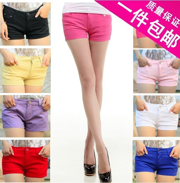 Free Shpping! 2012 New! Faux women denim candy color shorts multicolour single-shorts shorts legging female