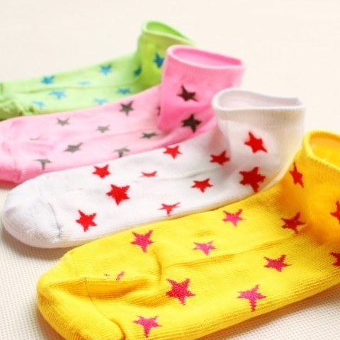 Free size socks candy color bow five-pointed star rabbit socks invisible sock slippers