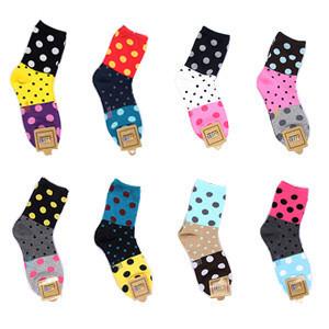 Free Size socks candy color patchwork dot polka dot cartoon cotton socks women's sock