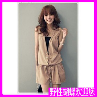 Freeshipping 2012 fashion loose mid waist one piece suspenders shorts women sleeveless drawstring double breasted