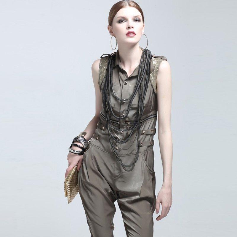 Freeshipping 2012 Fashion Women's Jumpsuit  sleeveless sequins 100%polyester cool designer armygreen ladies jumpsuit