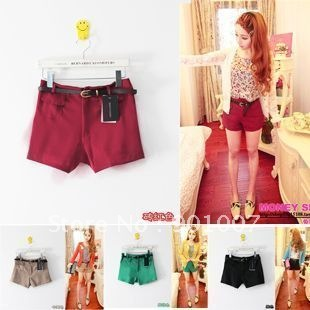Freeshipping 2012 New Fashion candy color shorts high waist short hot pants pocket with belt LL104