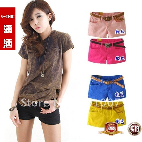 Freeshipping 2012 New fashion denim shorts women solid colour short pants hot Plus size RX9401 Wholesale and Retail