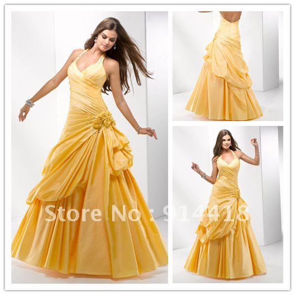 Freeshipping  Latest Design Beading Halter Pleated Yellow fuchsia Green Evening Dress 2012