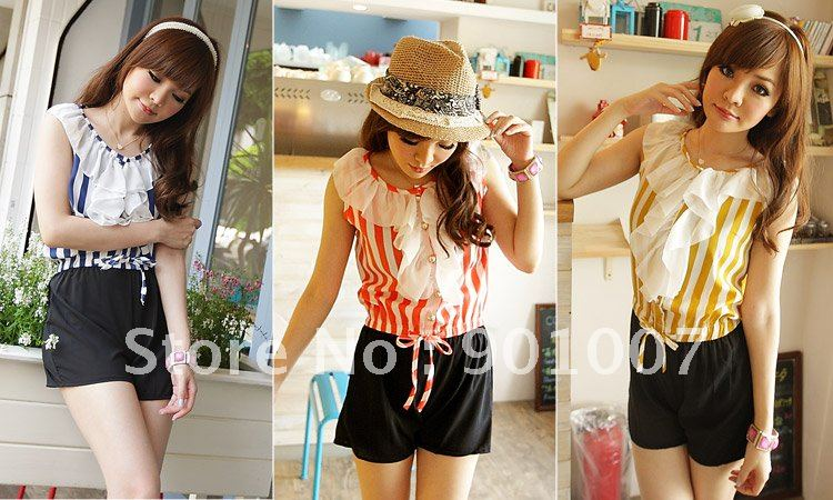 Freeshipping New 2012 sexy sailor stripe big laciness jumpsuit women hot shorts jumpsuits for ladies QZ8127