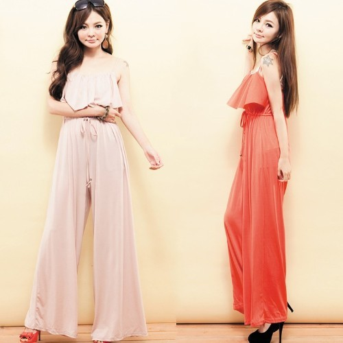 Freeshipping Orange/Pink  Elegant Siamese trousers For Women High Waist Ajustable Shoulder Strap Draw Cord Casual Jumpsuit