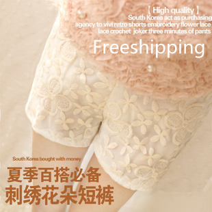 Freeshipping Vivi Lace Crochet all-match shorts embroidered flowers lace three piont pants