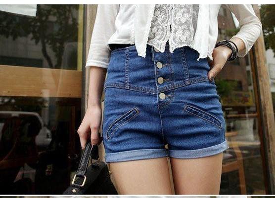 Freeshipping women high waist slim fit short pants button up denim short Blue S/M/L/XL mix order