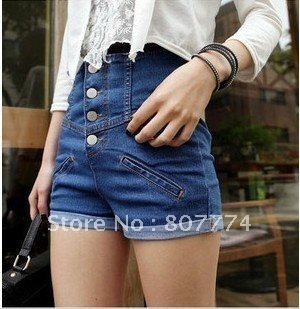 Freeshipping women high waist slim fit short pants button up denim short  Blue S/M/L/XL mix order Promotion