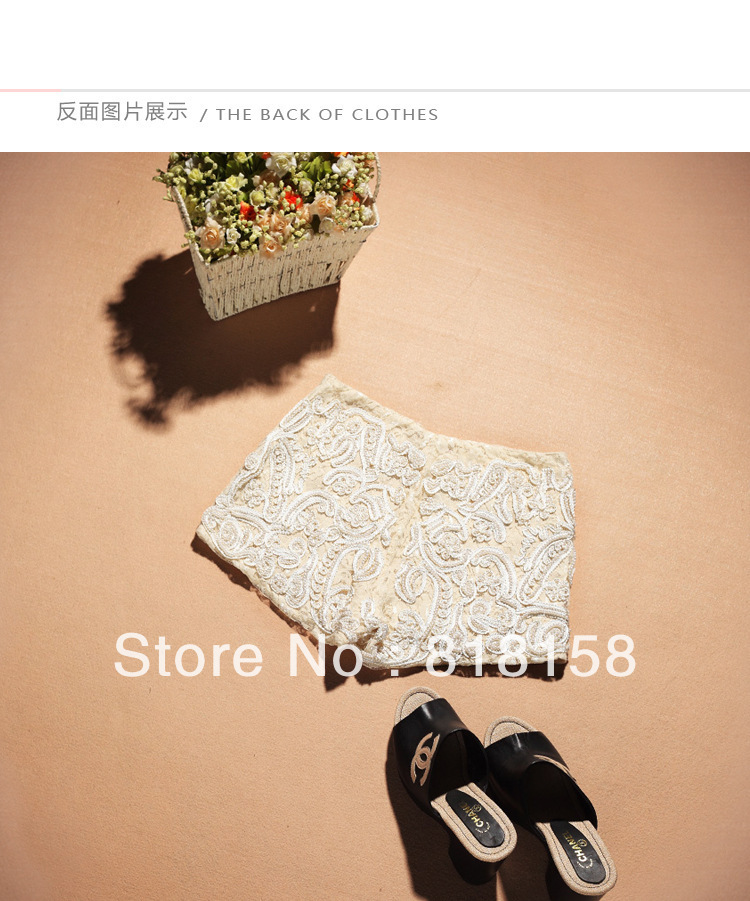 French romantic hand make beading shorts the noble princess elegance lace cotton1210073