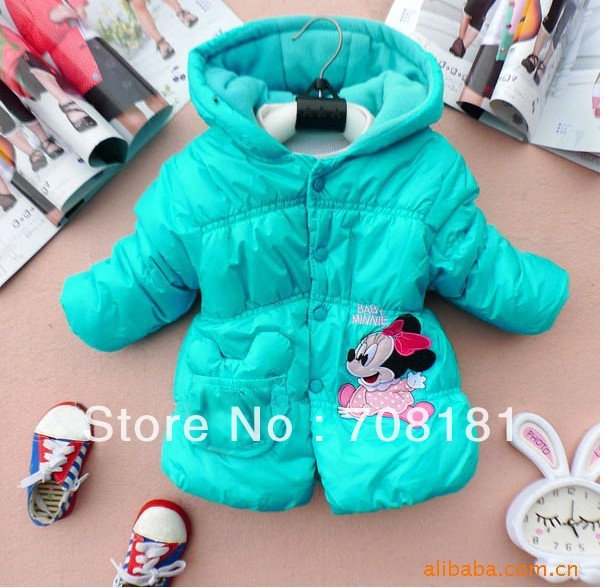 Fress shipping 1pcs/lot 2013 New Winter cotton Girls Children's coat Kids clothes Baby Minnie thick coat lovely princess coat