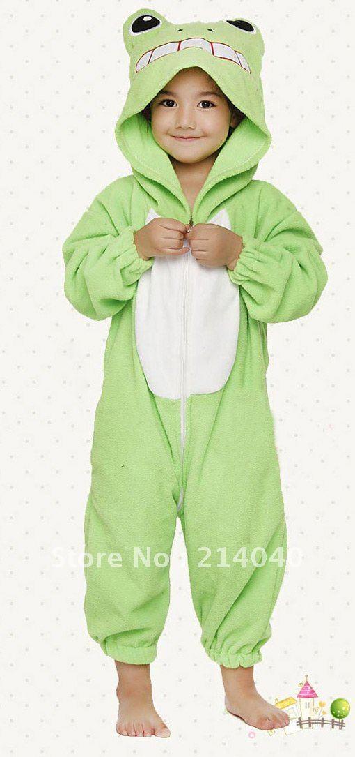 Frog Kigurumi Animal Costume for Kids Pajamas,children cosplay sleepwear