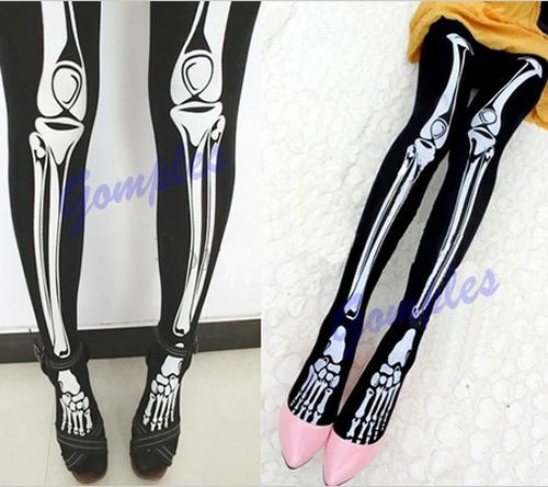 Funny Halloween Skeleton Bone Printed Skull Tights Pantyhose Punk Women Legging Stocking