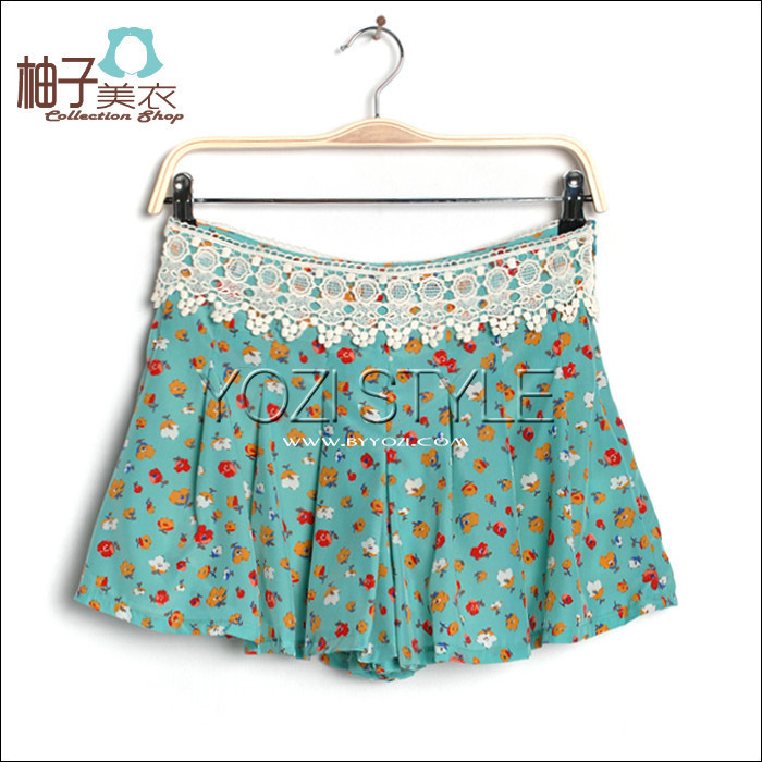Ge016-014 summer new arrival 2012 fashion women's lace chiffon silk culottes
