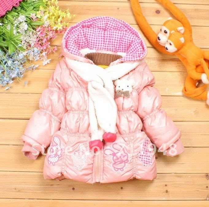 Girl's embroidery small rabbit thick velvet outwear+scarf,children's parkas 3pcs/lots free shipping