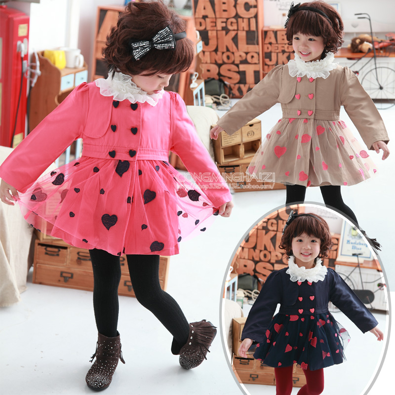 Girls clothing 2012 autumn and winter female child thin outerwear gentlewomen yarn long design child trench 03391