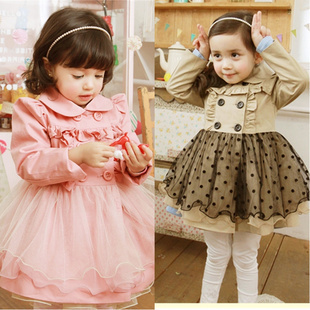Girls clothing 2012 autumn child outerwear autumn long-sleeve dress trench