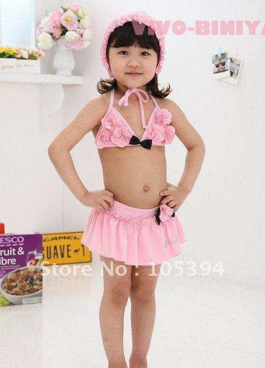 girls swimsuit girls pink 3-piece set Bikini swimwear Bikinis baby kids swimwear