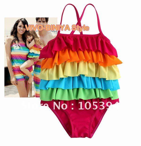 girls swimsuit  rainbow cake layers girls swimwear Bikinis baby kids swimwear