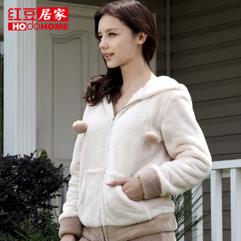 Globalsources at home women's autumn and winter thickening coral fleece sleepwear lounge top