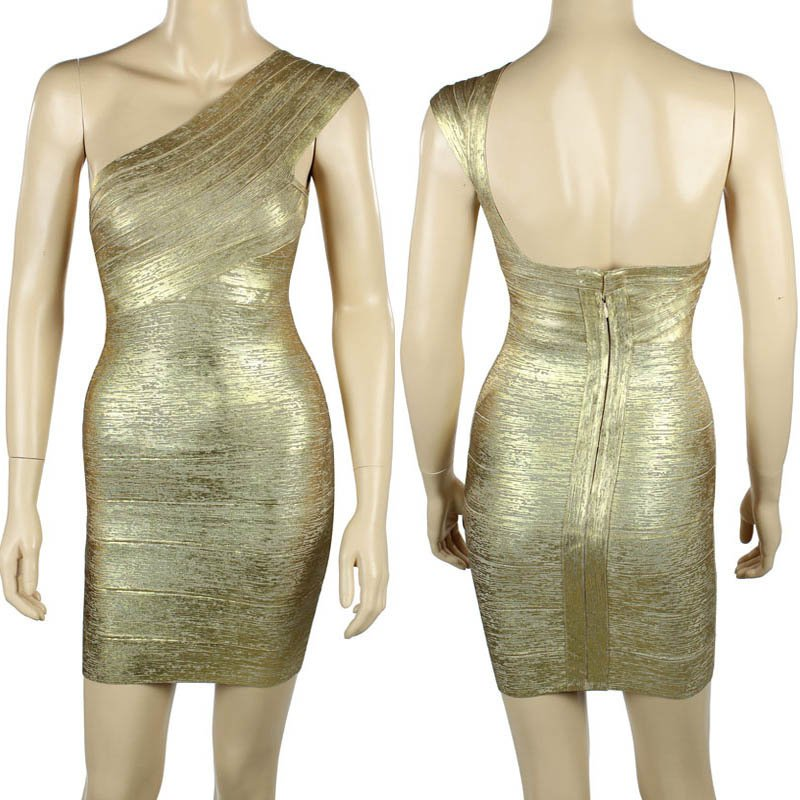 goden one-should backless party dress for women